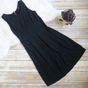 GAP Box Pleated Black Dress with Exposed Zipper